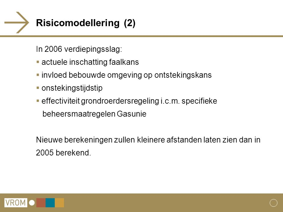 Risicomodellering (2) In 2006 verdiepingsslag: