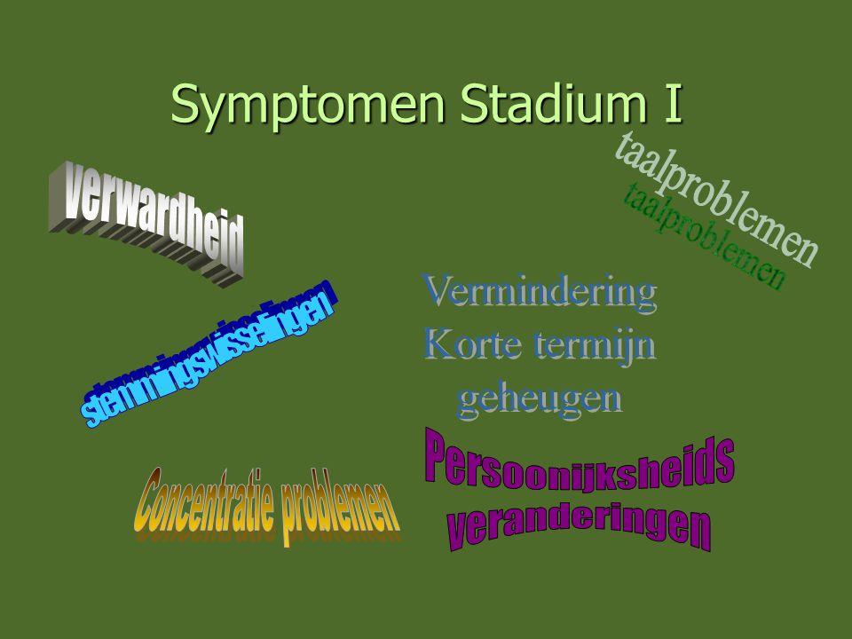 Symptomen Stadium I verwardheid Vermindering Korte termijn geheugen