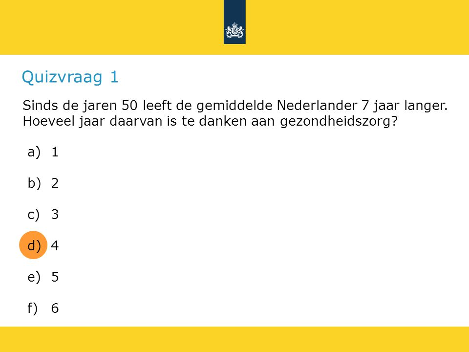 Quizvraag 1 Sinds de jaren 50 leeft de gemiddelde Nederlander 7 jaar langer. Hoeveel jaar daarvan is te danken aan gezondheidszorg
