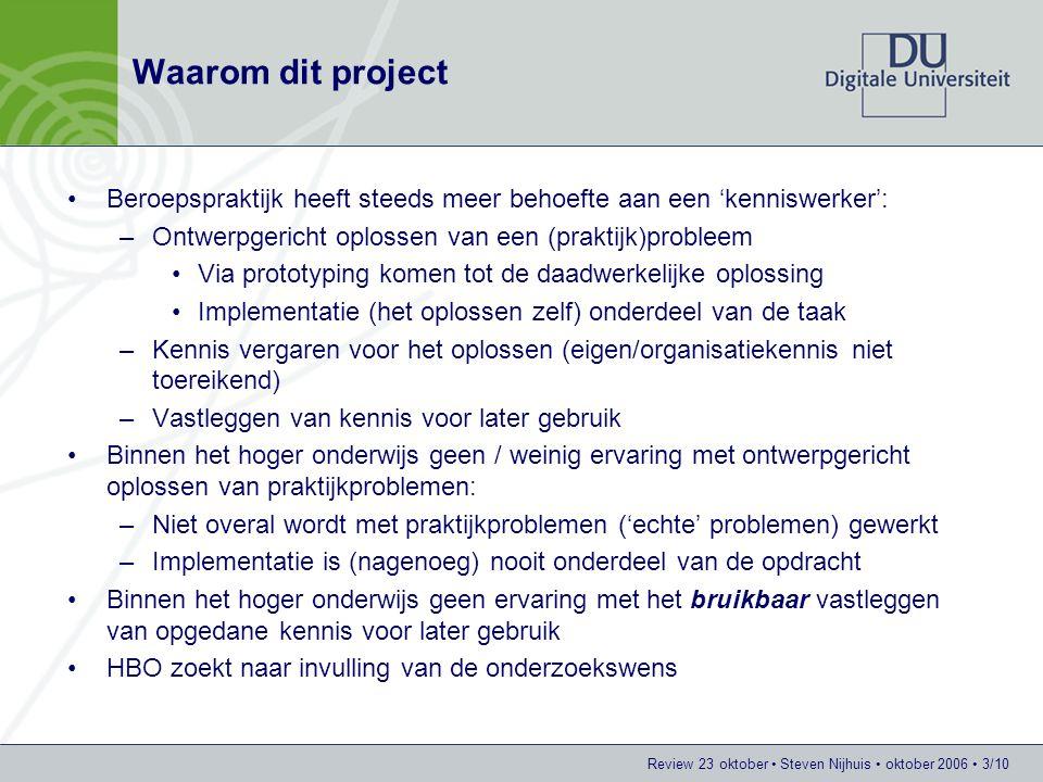 Waarom dit project Beroepspraktijk heeft steeds meer behoefte aan een 'kenniswerker': Ontwerpgericht oplossen van een (praktijk)probleem.