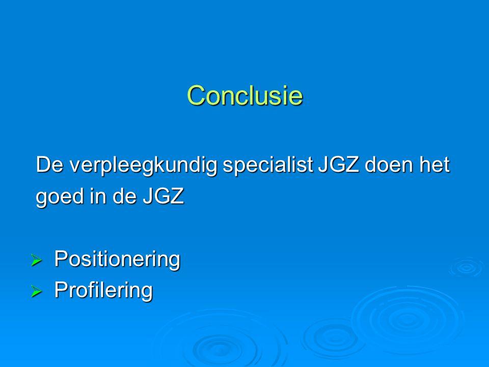 Conclusie De verpleegkundig specialist JGZ doen het goed in de JGZ