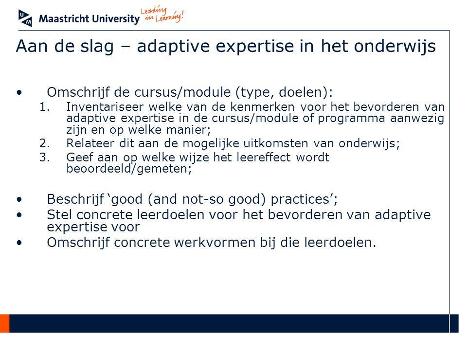 Aan de slag – adaptive expertise in het onderwijs