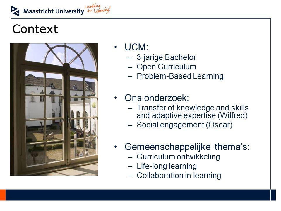 Context UCM: Ons onderzoek: Gemeenschappelijke thema's: