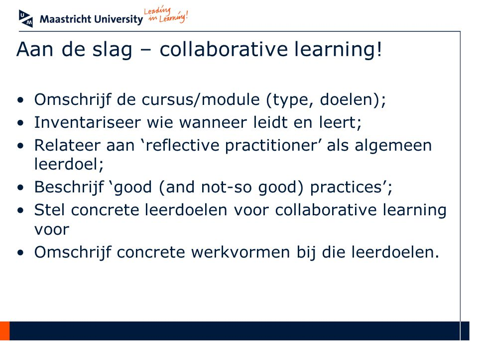 Aan de slag – collaborative learning!