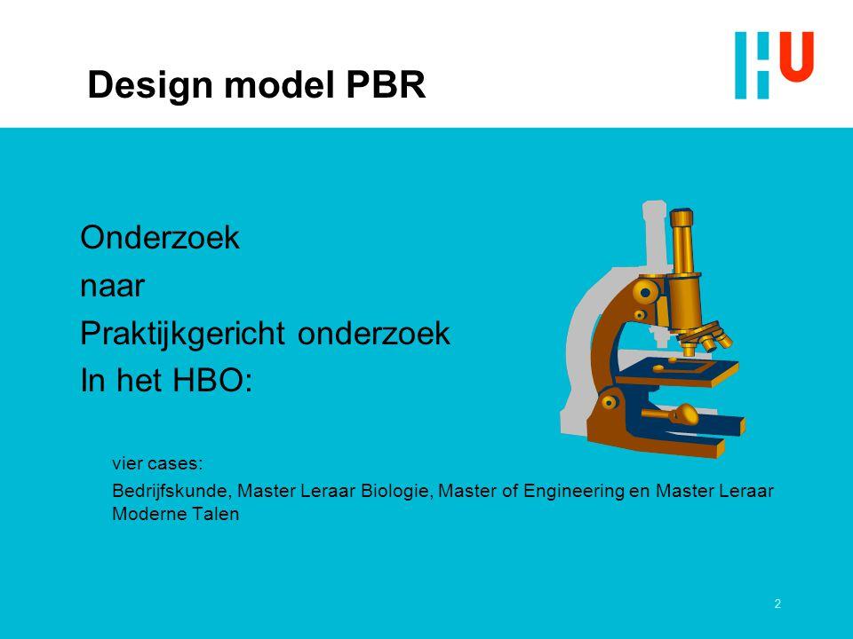 Design model PBR Onderzoek naar Praktijkgericht onderzoek In het HBO: