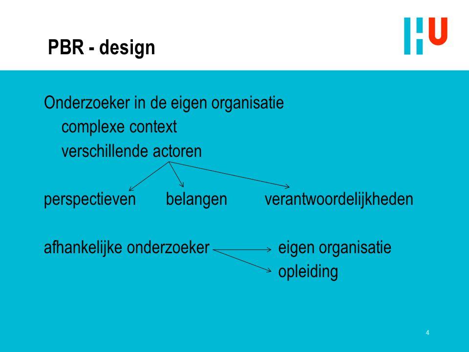 PBR - design Onderzoeker in de eigen organisatie complexe context