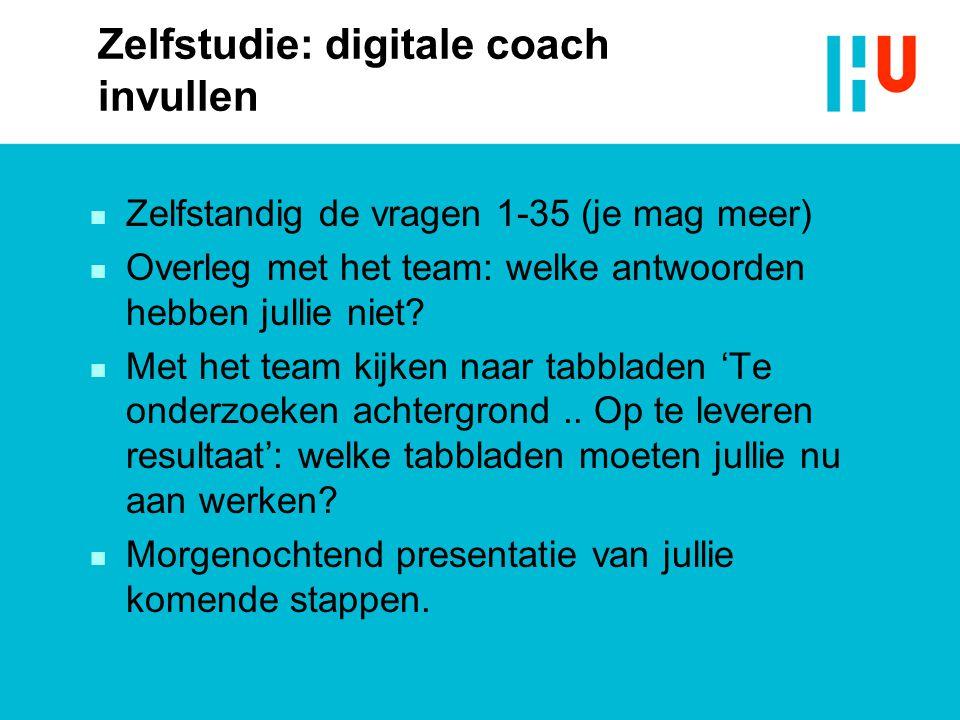 Zelfstudie: digitale coach invullen