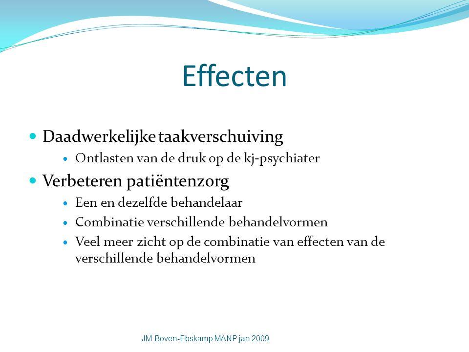 Effecten Daadwerkelijke taakverschuiving Verbeteren patiëntenzorg