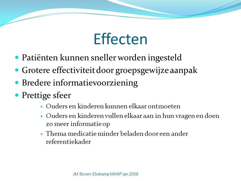 Effecten Patiënten kunnen sneller worden ingesteld