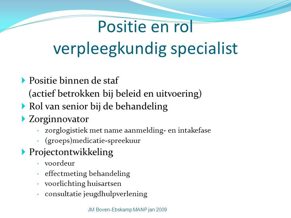 Positie en rol verpleegkundig specialist