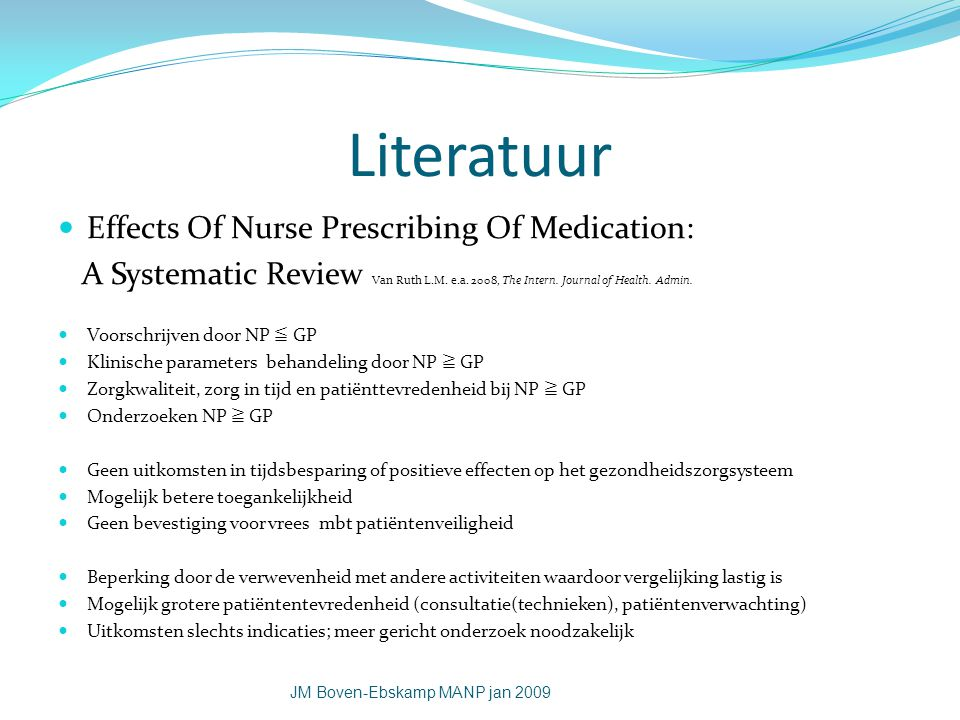 Literatuur Effects Of Nurse Prescribing Of Medication: