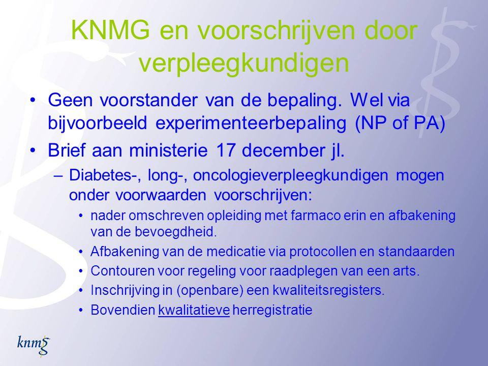 KNMG en voorschrijven door verpleegkundigen
