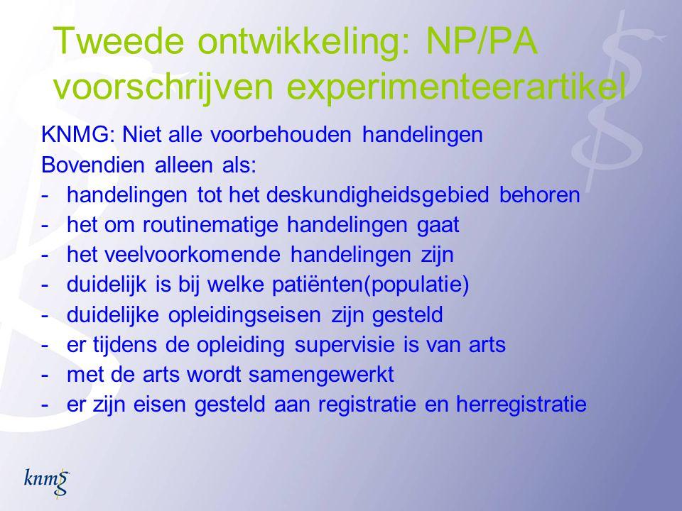 Tweede ontwikkeling: NP/PA voorschrijven experimenteerartikel