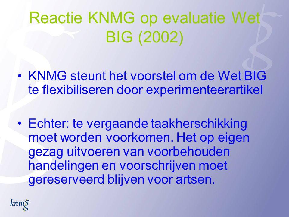 Reactie KNMG op evaluatie Wet BIG (2002)
