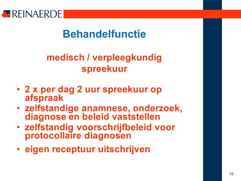 Behandelfunctie medisch / verpleegkundig spreekuur