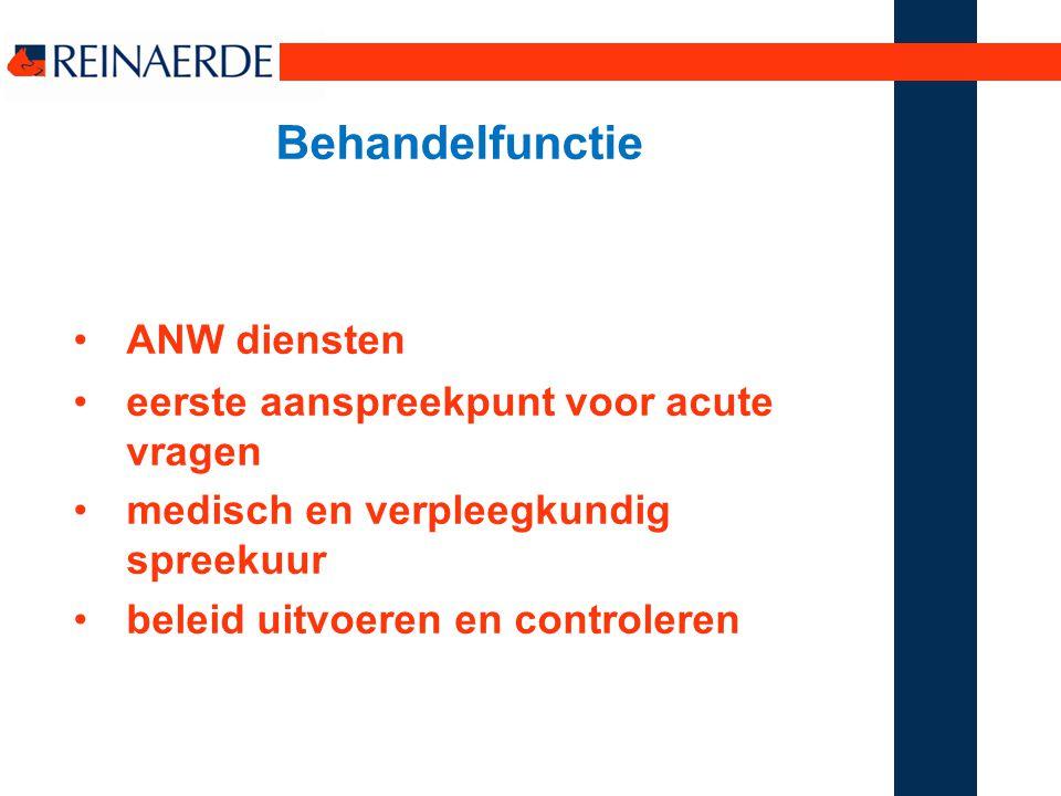 Behandelfunctie ANW diensten eerste aanspreekpunt voor acute vragen
