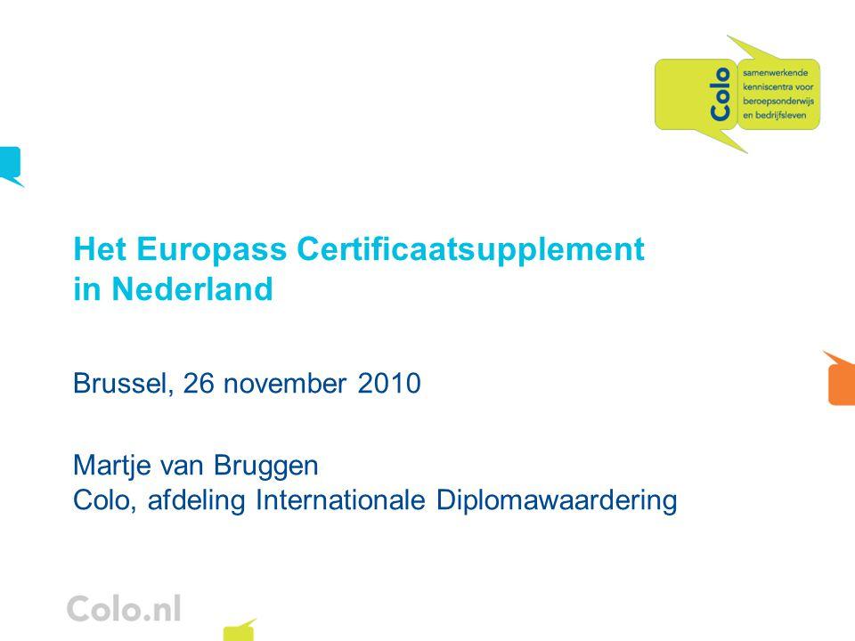 Het Europass Certificaatsupplement in Nederland