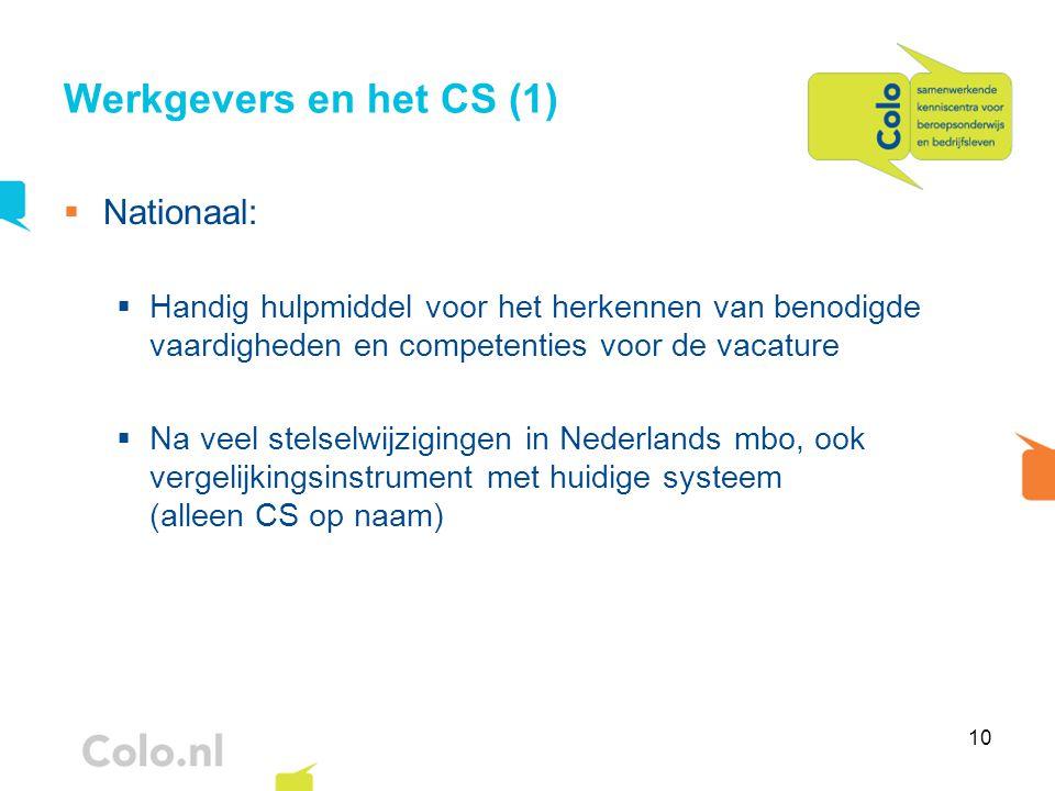Werkgevers en het CS (1) Nationaal: