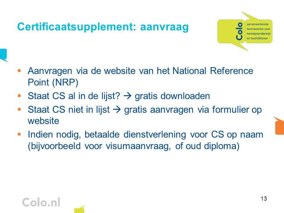 Certificaatsupplement: aanvraag
