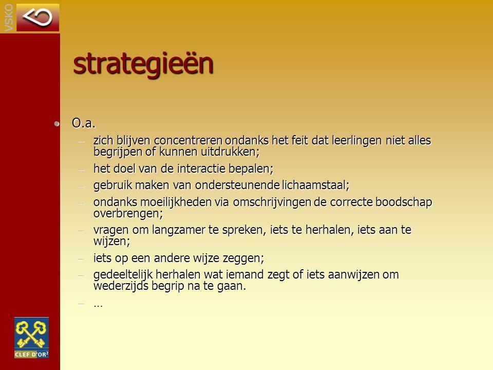 strategieën O.a. zich blijven concentreren ondanks het feit dat leerlingen niet alles begrijpen of kunnen uitdrukken;