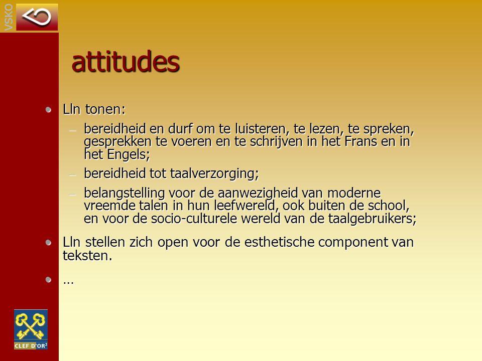 attitudes Lln tonen: bereidheid en durf om te luisteren, te lezen, te spreken, gesprekken te voeren en te schrijven in het Frans en in het Engels;