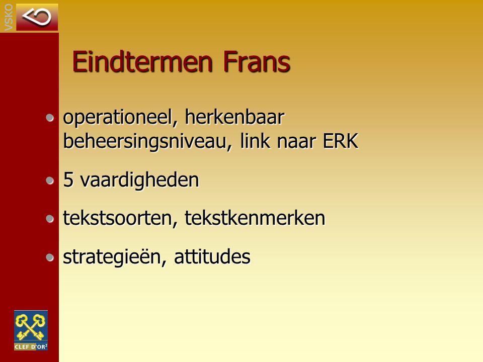 Eindtermen Frans operationeel, herkenbaar beheersingsniveau, link naar ERK. 5 vaardigheden. tekstsoorten, tekstkenmerken.