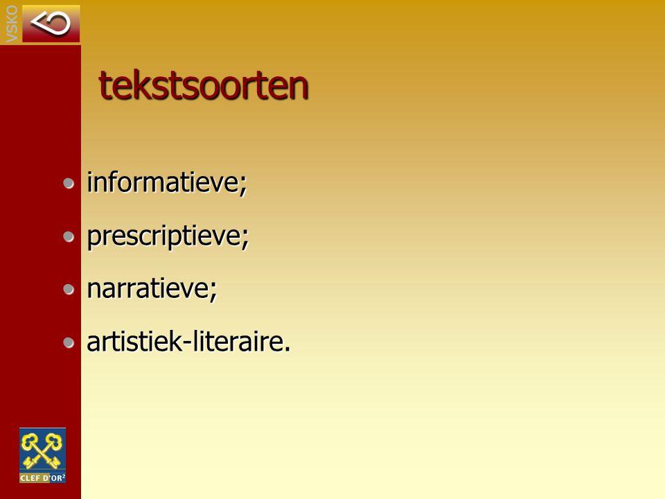 tekstsoorten informatieve; prescriptieve; narratieve;