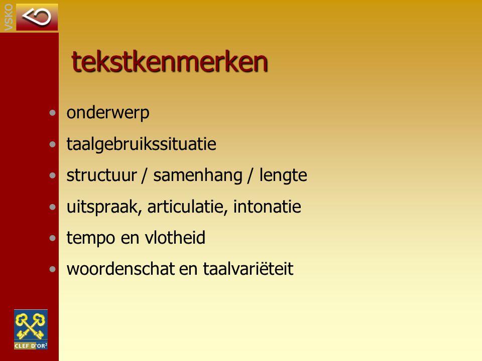 tekstkenmerken onderwerp taalgebruikssituatie