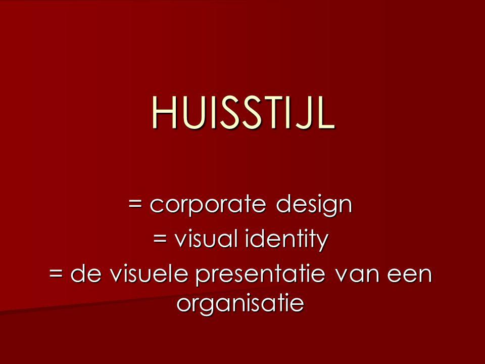= de visuele presentatie van een organisatie