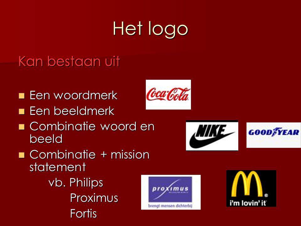 Het logo Kan bestaan uit Een woordmerk Een beeldmerk