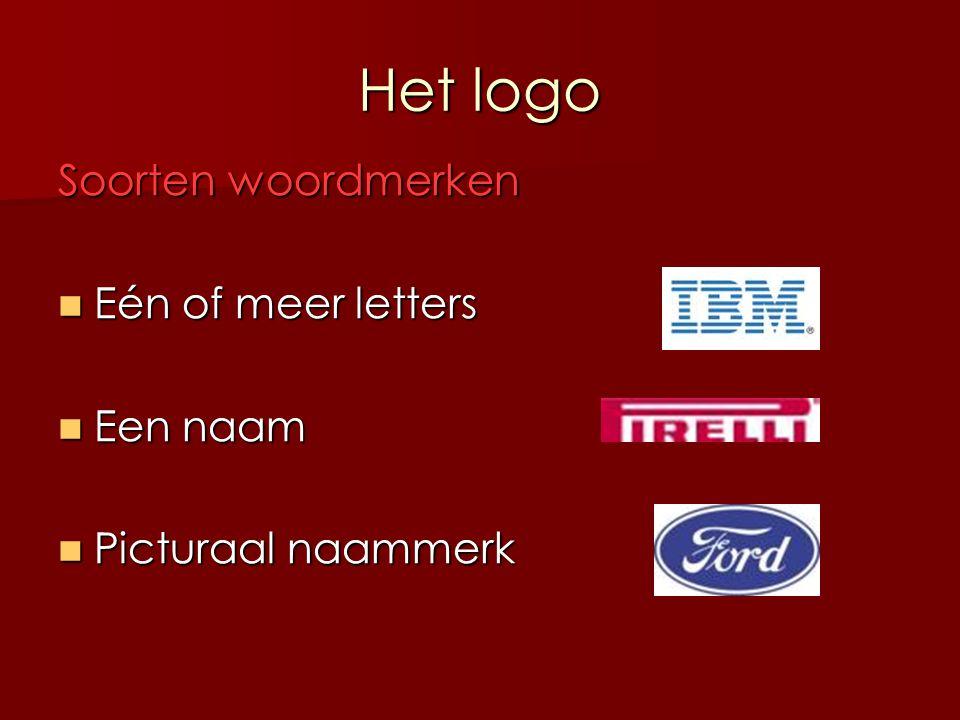Het logo Soorten woordmerken Eén of meer letters Een naam