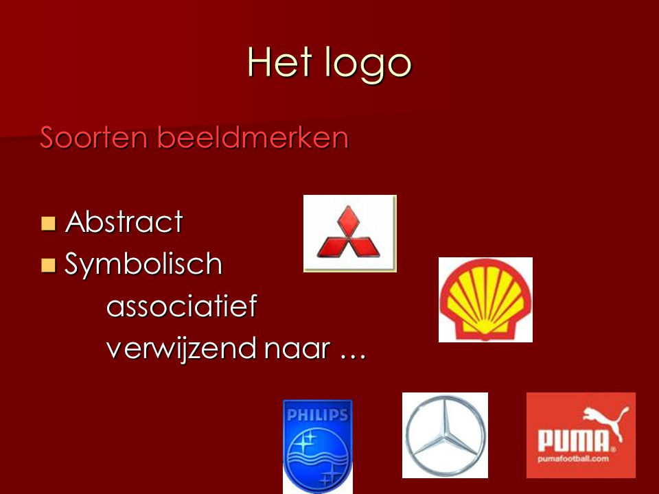 Het logo Soorten beeldmerken Abstract Symbolisch associatief