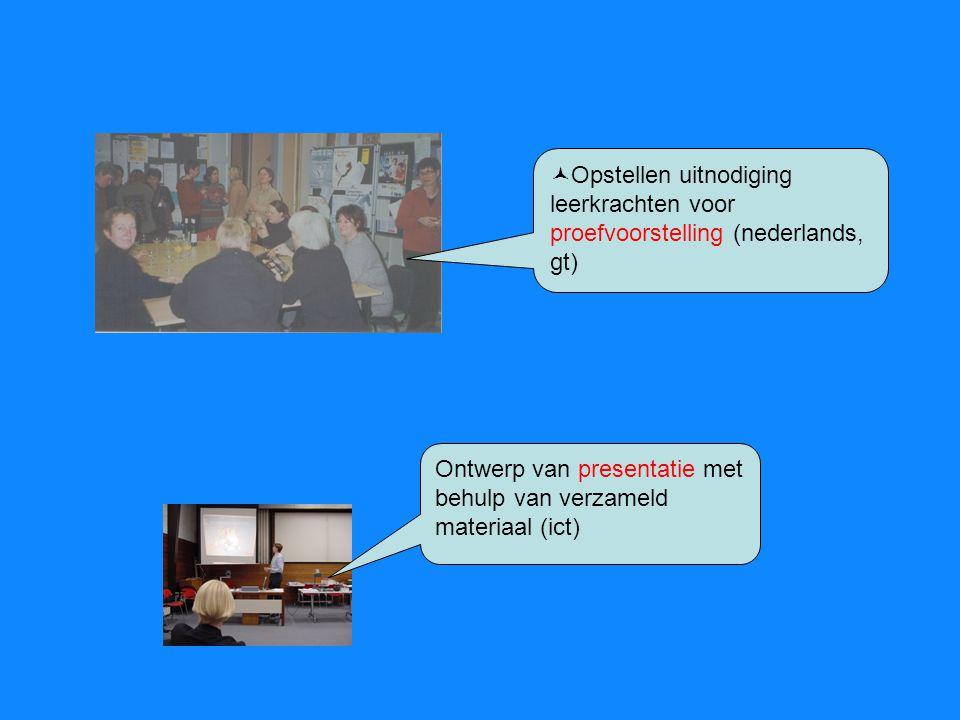 Opstellen uitnodiging leerkrachten voor proefvoorstelling (nederlands, gt)
