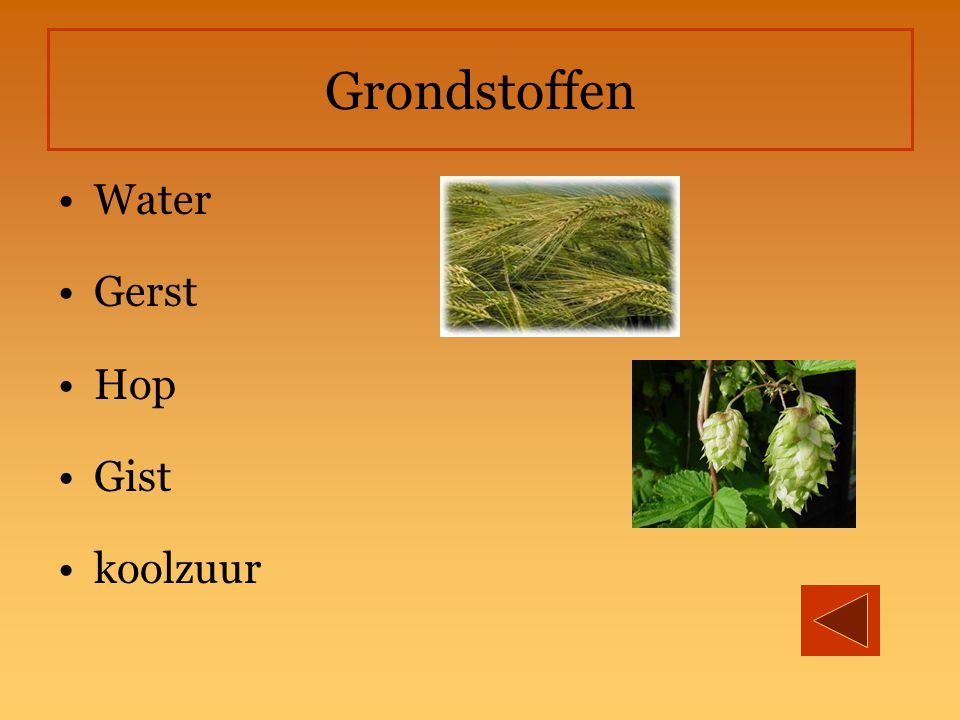 Grondstoffen Water Gerst Hop Gist koolzuur