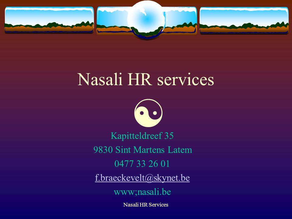 Nasali HR services  Kapitteldreef 35 9830 Sint Martens Latem