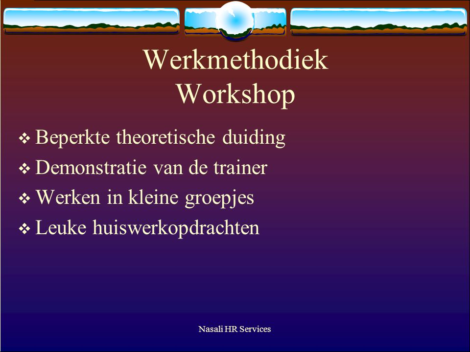 Werkmethodiek Workshop