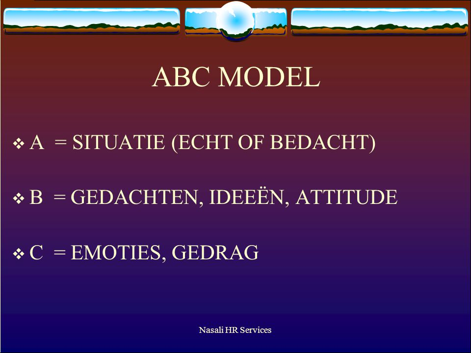 ABC MODEL A = SITUATIE (ECHT OF BEDACHT)