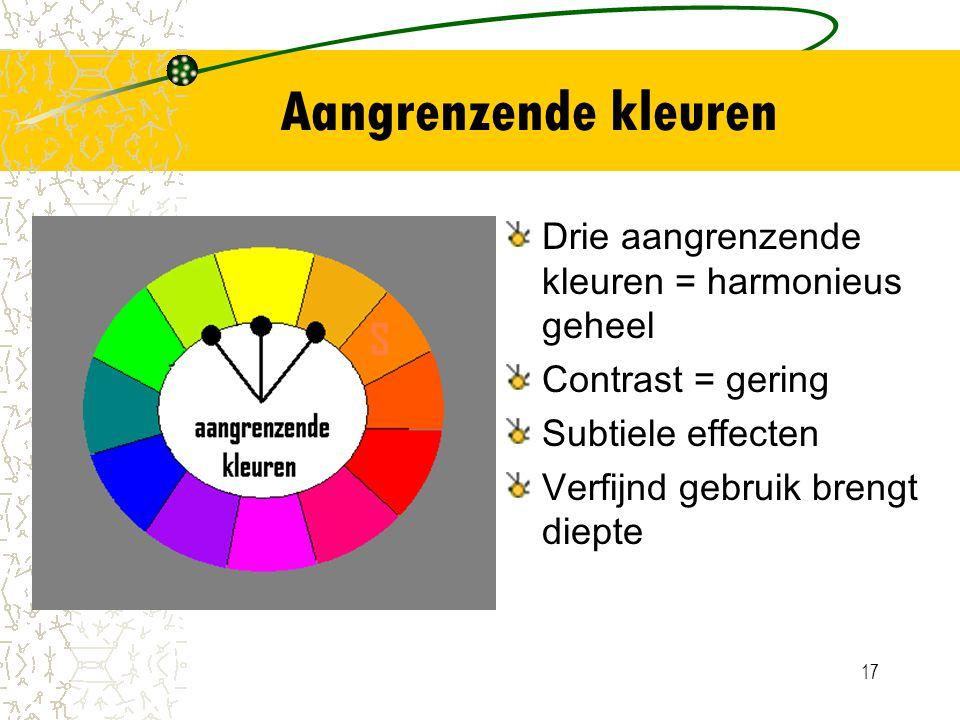 Aangrenzende kleuren Drie aangrenzende kleuren = harmonieus geheel