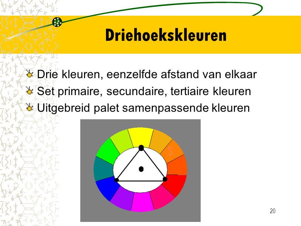 Driehoekskleuren Drie kleuren, eenzelfde afstand van elkaar