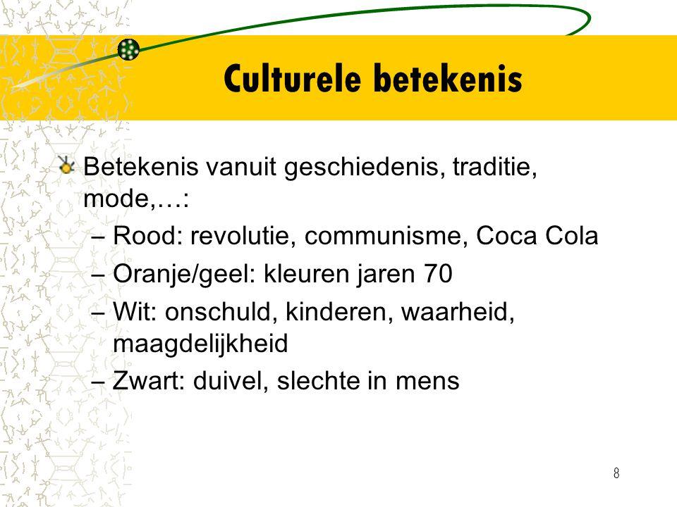 Culturele betekenis Betekenis vanuit geschiedenis, traditie, mode,…: