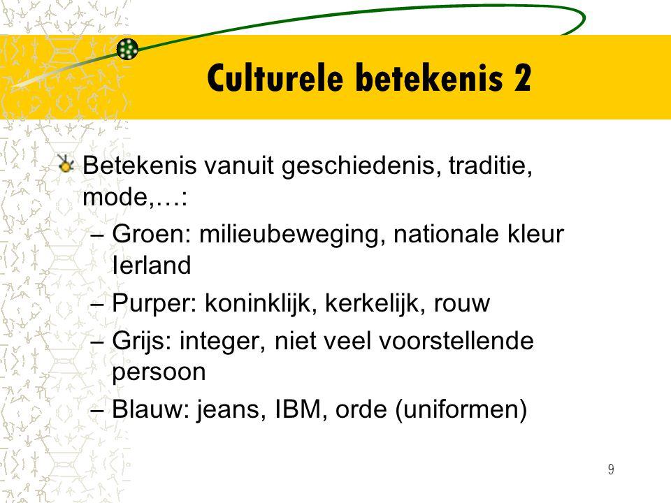 Culturele betekenis 2 Betekenis vanuit geschiedenis, traditie, mode,…: