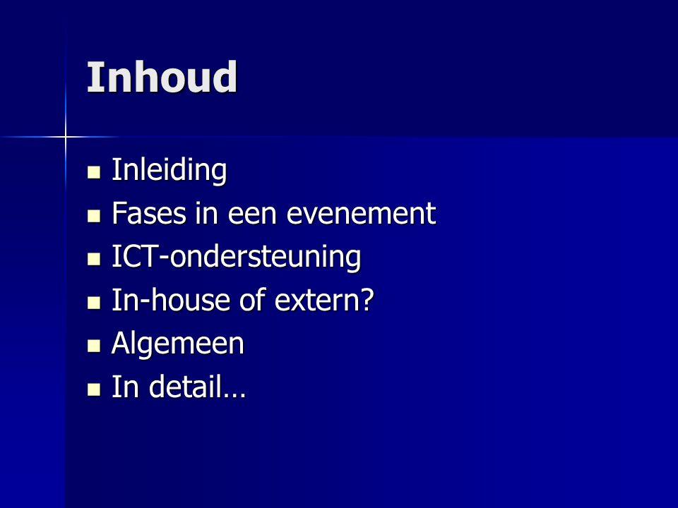 Inhoud Inleiding Fases in een evenement ICT-ondersteuning