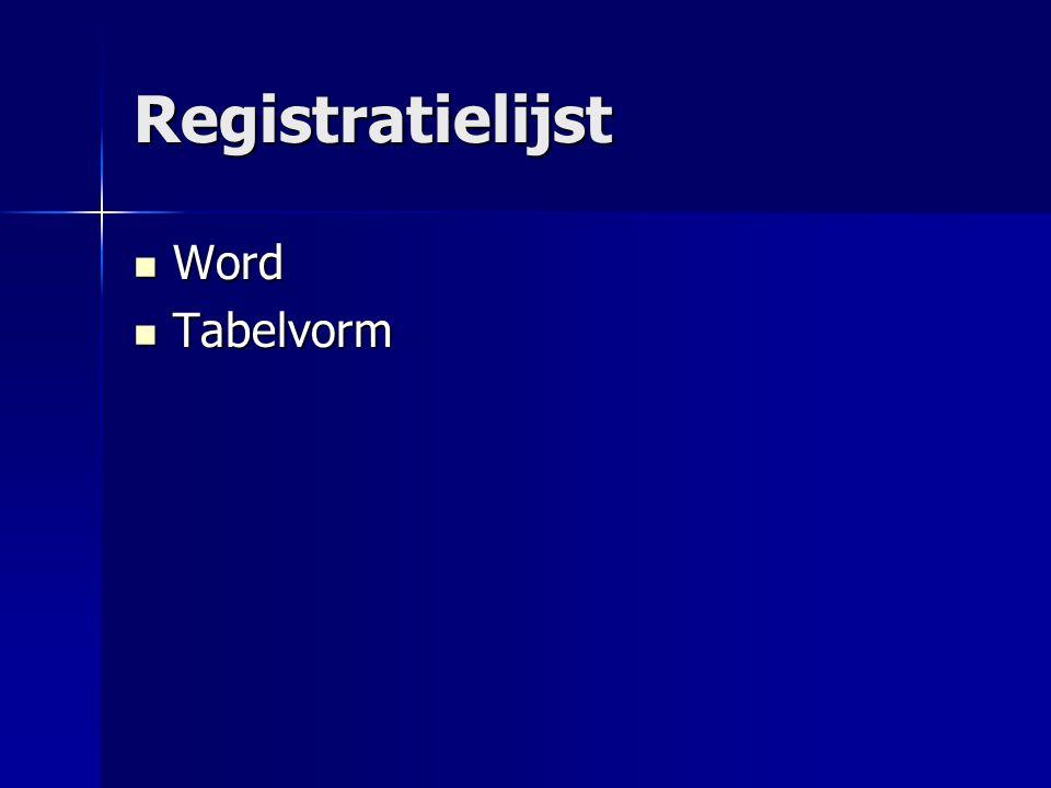 Registratielijst Word Tabelvorm
