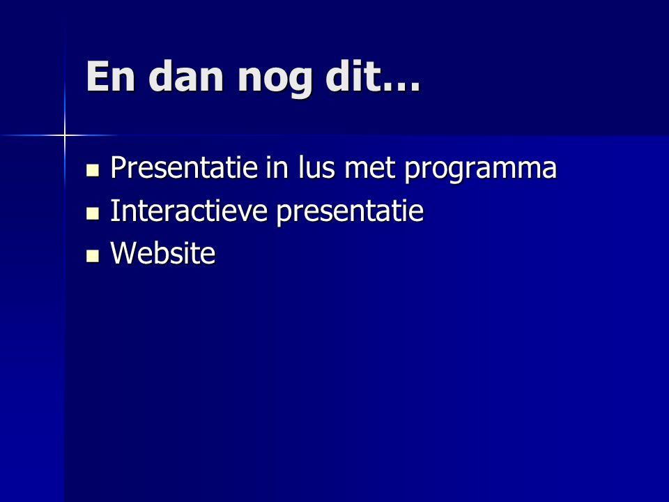 En dan nog dit… Presentatie in lus met programma