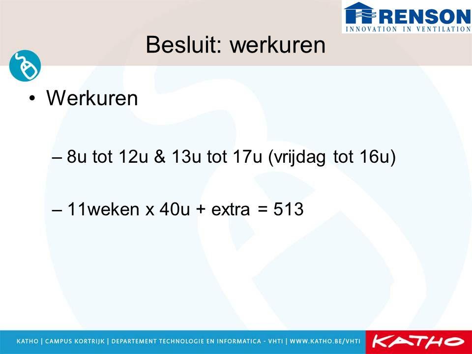 Besluit: werkuren Werkuren 8u tot 12u & 13u tot 17u (vrijdag tot 16u)