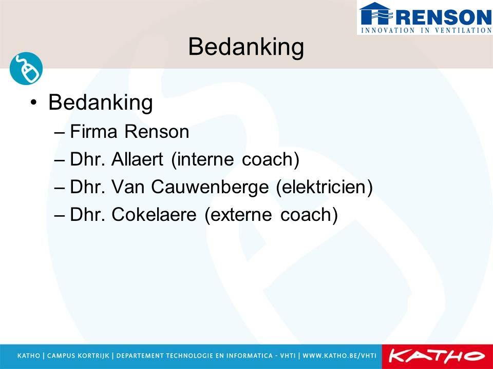 Bedanking Bedanking Firma Renson Dhr. Allaert (interne coach)