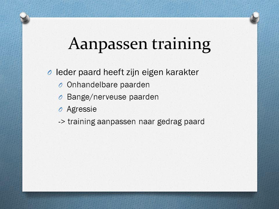 Aanpassen training Ieder paard heeft zijn eigen karakter