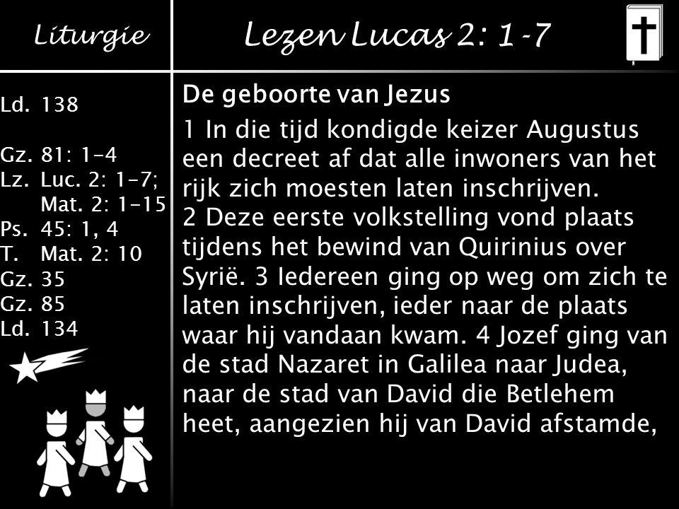 Lezen Lucas 2: 1-7 De geboorte van Jezus