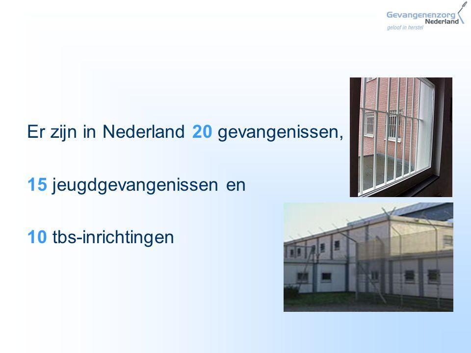 Er zijn in Nederland 20 gevangenissen,