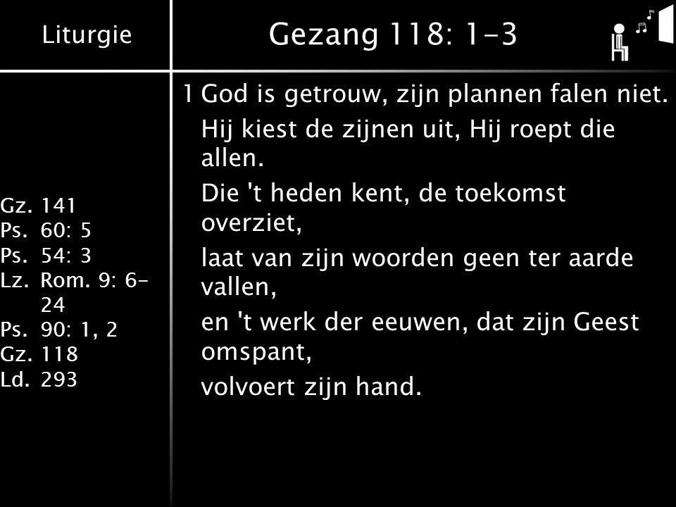 Gezang 118: 1-3 1 God is getrouw, zijn plannen falen niet.